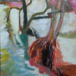 acryl painting, DeMenet, Marne river, impression