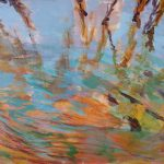 Acryl painting, DeMenet, Marne river, water, impression