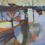 acryl painting, DeMenet, Marne river, water, winter, impressionist