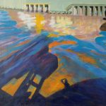 acryl painting, DeMenet, Weser river, water, impressionist
