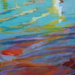 acryl painting, DeMenet, Marne river, water, impressionist
